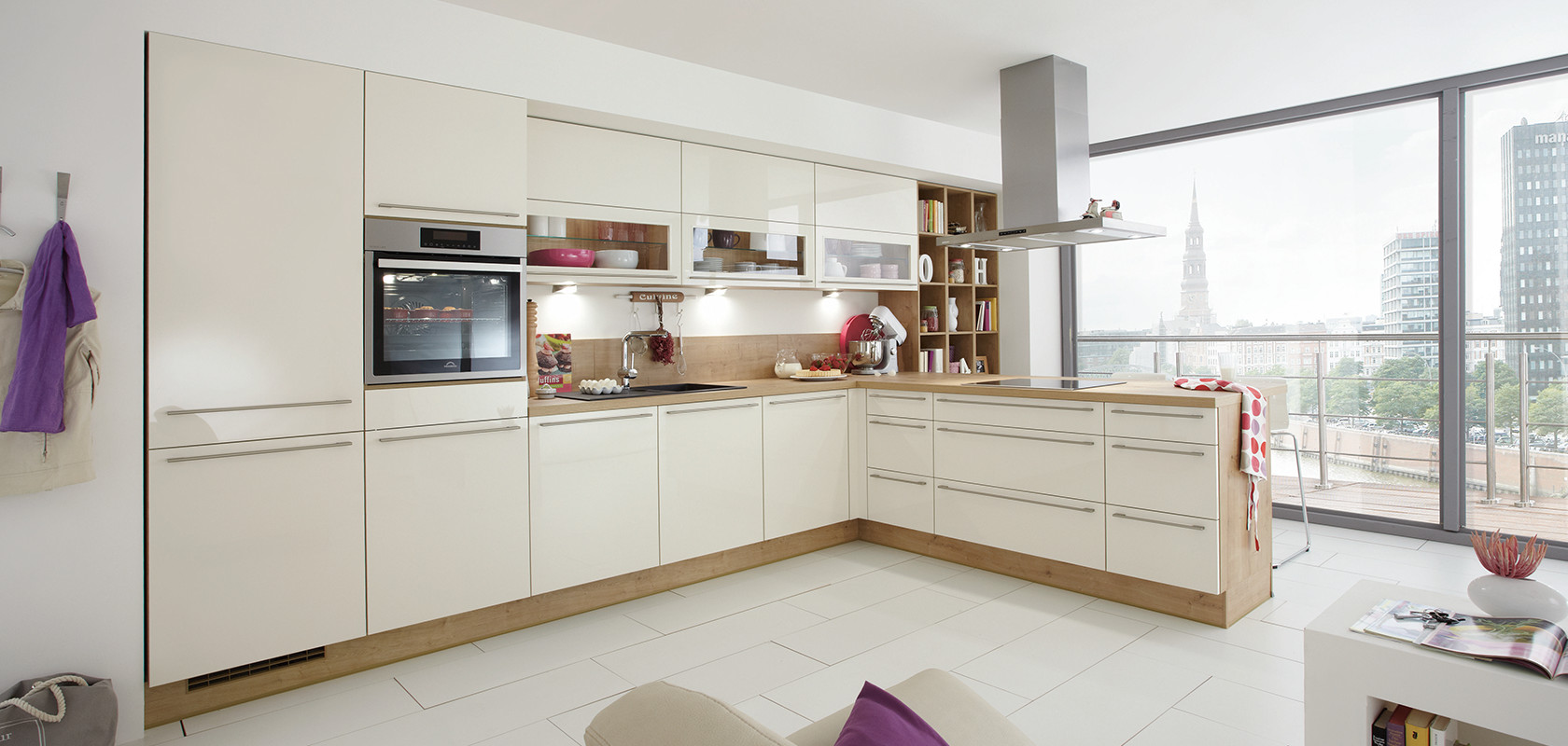 focus 462 ivory ultra high gloss modern kitchens