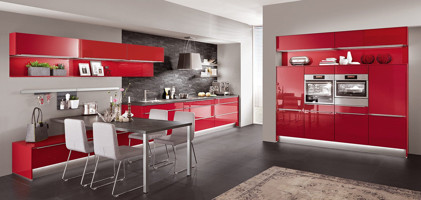 FLASH 501, Rot Hochglanz (Moderne Küchen) | nobilia Küchen