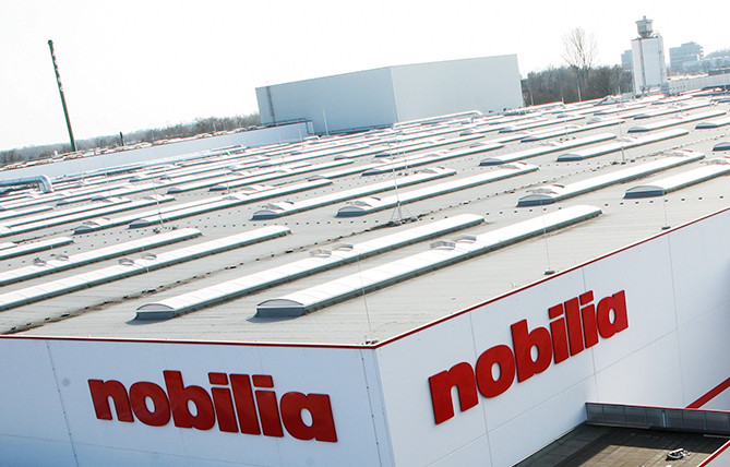 Aerial film of the nobilia plants in Verl.
