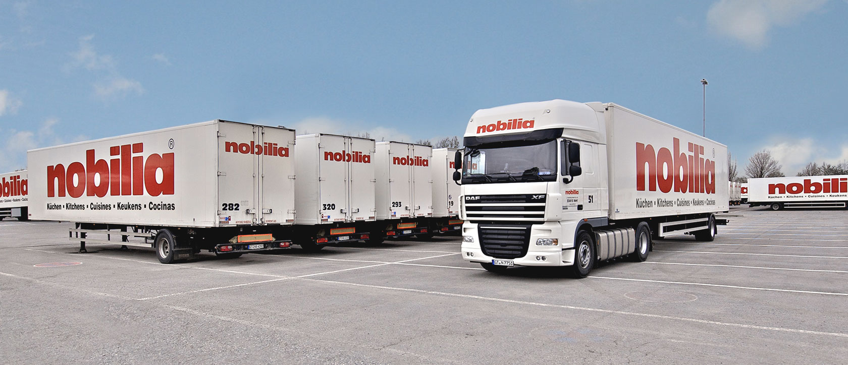 nobilia lorries and tractor-trailers in the nobilia parking area